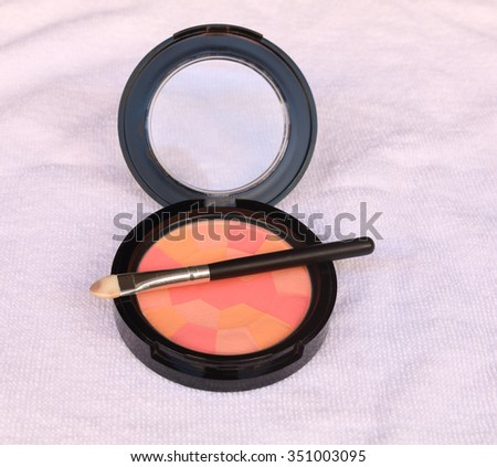 Makeup Eyeliner brush with bottle ,set of cosmetics,Make-up and brushes,powder, puff - stock photo