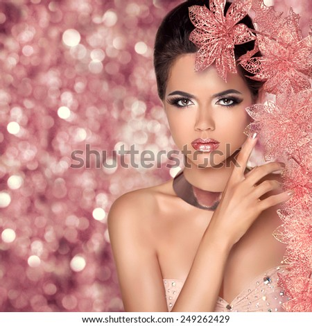 Makeup. Glamour Fashion Portrait of Beautiful Attractive Girl With Flowers. Beauty Model Woman Face isolated holiday bokeh lights background.  - stock photo