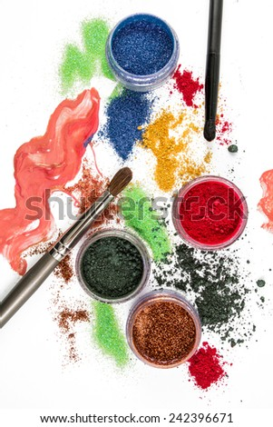 Makeup. Make-up Set. Brush. colorful Glitter. lipgloss, rouge, eyeshadows, on a white background - stock photo