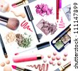 Makeup. Make-up Set.Collage.Mascara,lipgloss,lipstick,rouge,eyeshadows,eyeliner,foundation isolated on a white background - stock photo