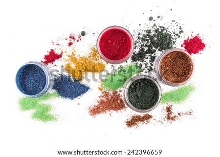 Makeup. Make-up Set. colorful Glitter. lipgloss, rouge, eyeshadows, on a white background - stock photo
