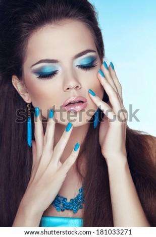 Makeup. Manicured nails. Glamour Fashion Woman Portrait. - stock photo