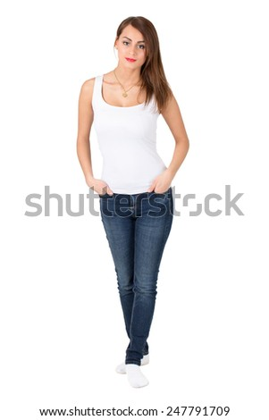 Makeup model wearing white top and golden heart necklace standing on white isolated background. - stock photo