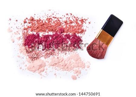 makeup powder with brush white background - stock photo
