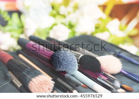 Makeup professional brushes set - stock photo