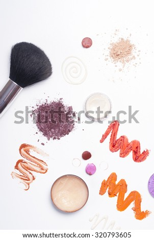 makeup samples on white background with shade, not isolated
