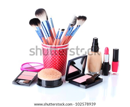 makeup set isolated with brushes isolated on white - stock photo