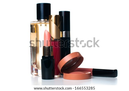 makeup set: lipstick, mascara, blush, lipgloss and ferfume, cosmetics on white background isolated - stock photo