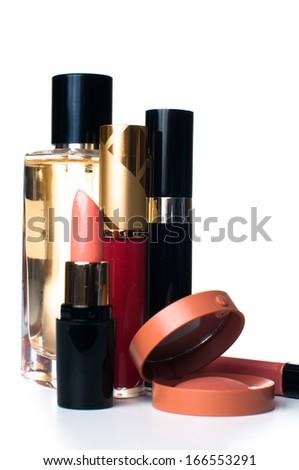 makeup set: lipstick, mascara, blush, lipgloss and ferfume, cosmetics on white background isolated - stock photo