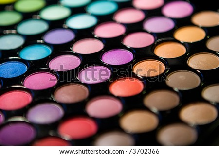 Makeup set. Professional multicolor eyeshadow palette - stock photo