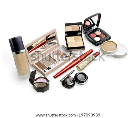 Makeup set. Still life on white background - stock photo