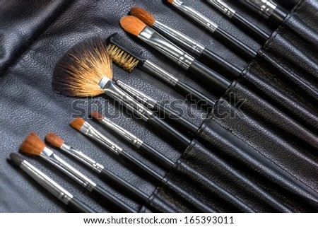 Makeup Tools in a leather case - stock photo