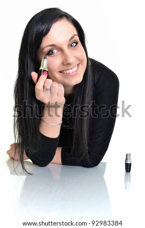 Makeup woman isolated on white background