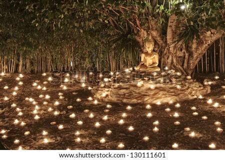 Makha Bucha Day at Phan Tao Temple : Chiang Mai Thailand. - stock photo
