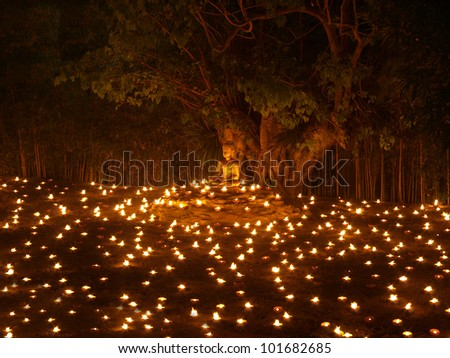 Makha Bucha Day, Visakha Bucha Day, Asarnha Bucha Day - stock photo