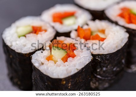 Maki roll with vegetable - stock photo