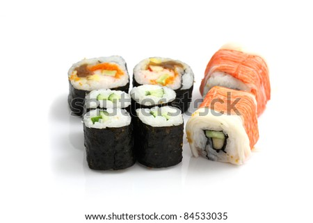 Maki Rolls isolated in white background