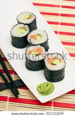 Maki Sushi - Roll made of Smoked Eel, Cream Cheese and Deep  - stock photo