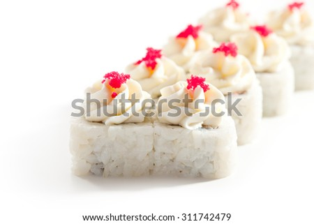 Maki Sushi Topped with Cream Cheese and Masago - stock photo