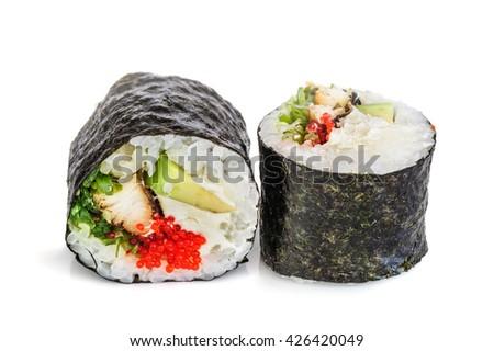 Maki sushi, two rolls isolated on white - stock photo