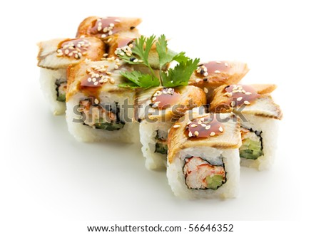 Maki Sushi with Crab Meat - Roll made of Crab Meat, Cucumber and Tobiko inside. Topped with Eel - stock photo