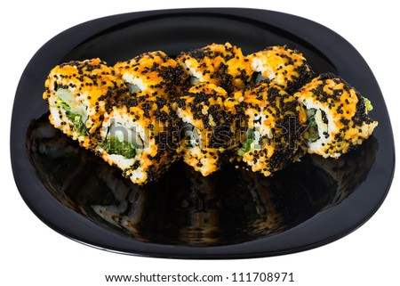 "Maki sushi with seaweed, tuna, eel, salmon, avocado, cucumber, Philadelphia cheese and caviar ""Tobiko"". On a black plate isolated on white background. - stock photo"