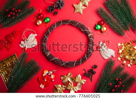 Making a Christmas wreath. Christmas and New Year background