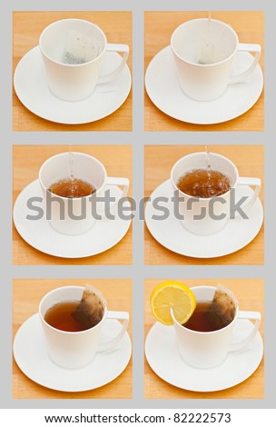 Making a cup of tea with a slice of lemon, a sequence - stock photo