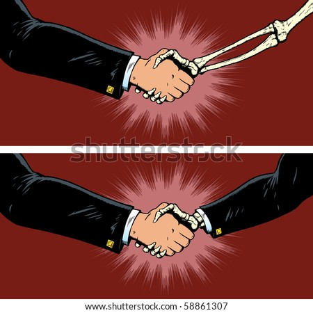 Making a deal with death, a bad partnership - stock photo