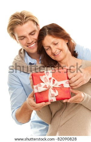 making a gift for her mother - stock photo