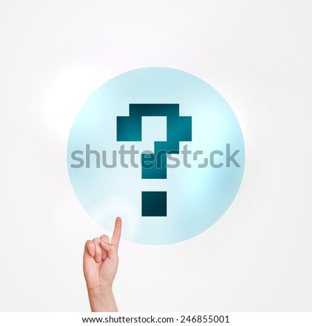 Making an Inquiry Concept, Female Hand Pushing touchscreen button with Question Mark. - stock photo