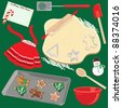 Making and baking Christmas Cookies Clip art elements and icons - stock photo