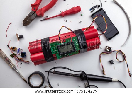 making bomb with digital timer - stock photo