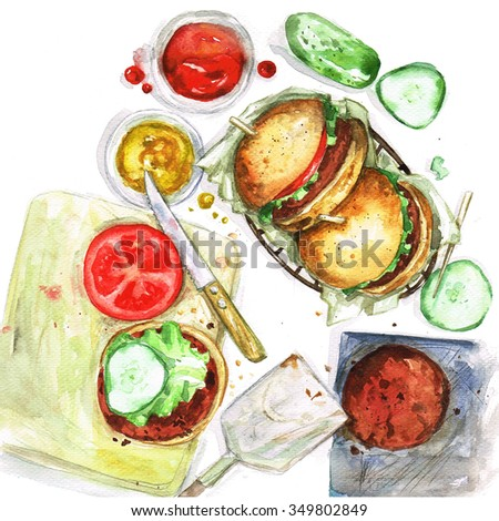 Making burgers - Watercolor Food Collection - stock photo