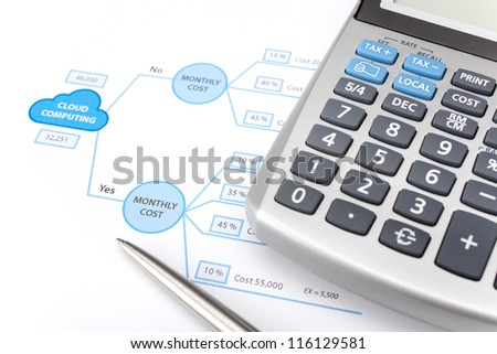 Making business decision about using cloud computing. Printed decision tree, calculator and pen. Focused on the word Yes. - stock photo
