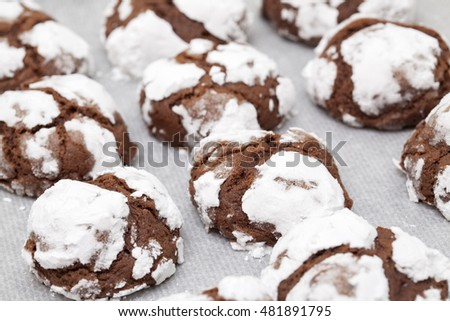 making chocolate cookies - fresh ready cookies on oven tray