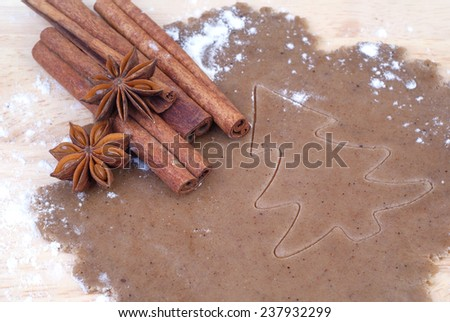 making christmas gingerbread  - stock photo
