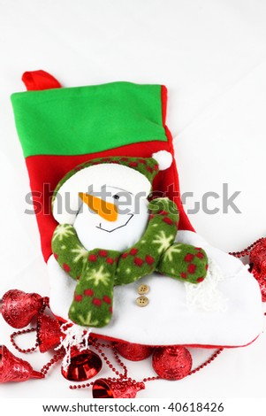making Christmas sock by myself on white background