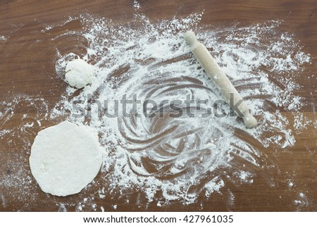 making dough for pizza - stock photo
