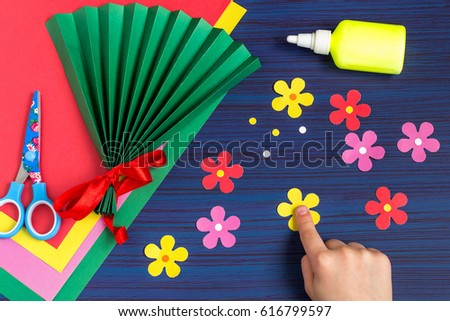 Making gift mothers day by child stock photo edit now shutterstock making gift for mothers day by the child colorful bouquet of flowers out of paper mightylinksfo