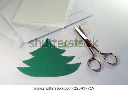 Making greeting cards for Christmas and New Year - stock photo
