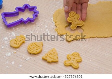 Making homemade christmas cookies. - stock photo