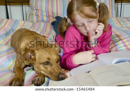 Making homework together - stock photo