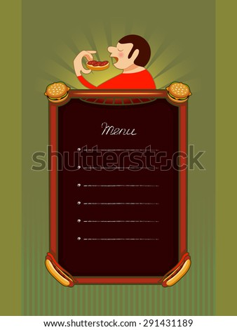 Making menu for the cafe or a banner. The image of a man who eats sandwich. - stock photo