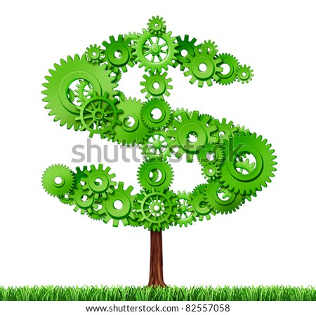 Making money and building wealth represented by a growing tree in the shape of a dollar sign made of gears and cogs showing the concept of success and profits from manufacturing and services. - stock photo