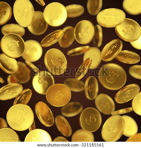 Making money, business success, finance, wealth, casino winning and jackpot concept: gold falling coins on dark background - stock photo