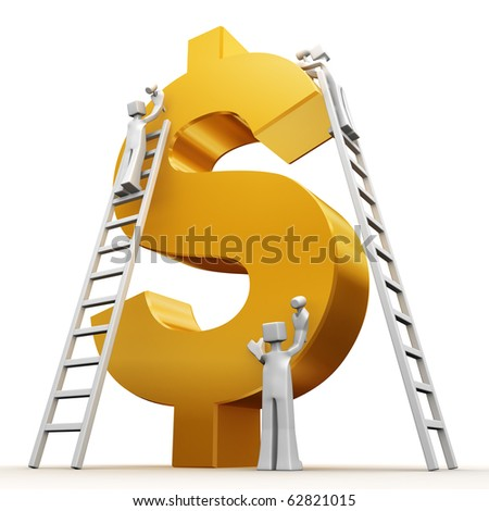 Making money concept teams building a golden dollar 3d illustration - stock photo