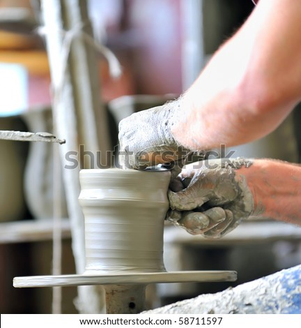 making of a ceramic vase - stock photo