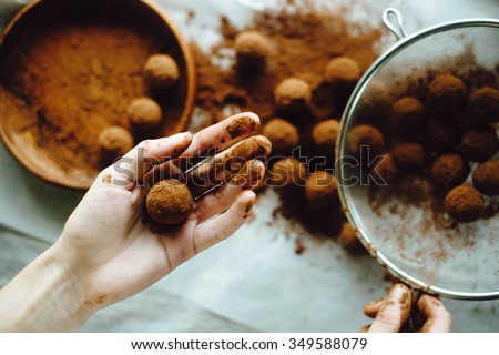 Making of chocolate truffles - stock photo