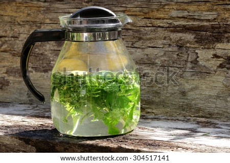 making of herbal lemonade - stock photo